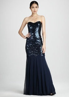David Meister Chiffon-Skirt Sequined Gown