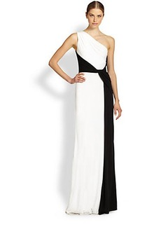 David Meister Colorblock Sleeveless Jersey Gown