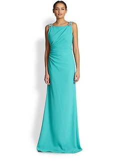 David Meister Crepe Beaded-Detail Gown