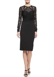 David Meister Deco Lace Jersey Dress