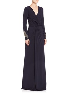 David Meister Draped Jersey Gown