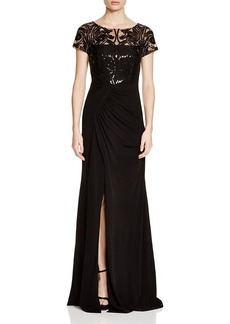 David Meister Embellished Bodice Gown