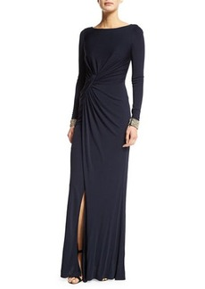 David Meister Embellished-Cuff Ruched Gown