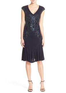 David Meister Embellished Front Woven A-Line Dress