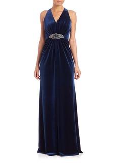 David Meister Embellished Halter Velvet Gown