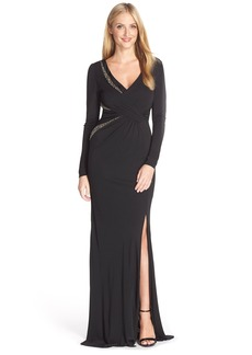 David Meister Embellished Jersey Gown