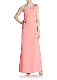 David Meister Embellished One-Shoulder Gown