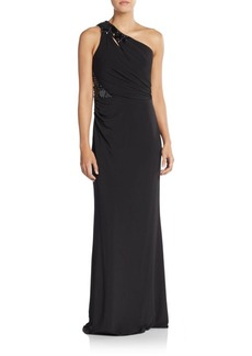 David Meister Embellished One-Shoulder Trumpet Gown