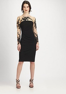 David Meister Embroidered Illusion Dress