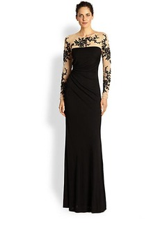 David Meister Embroidered Illusion Gown