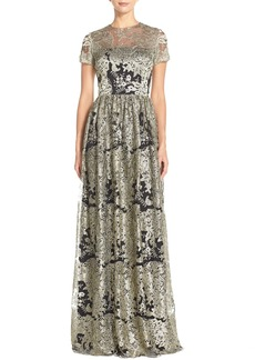 David Meister Embroidered Mesh Fit & Flare Gown