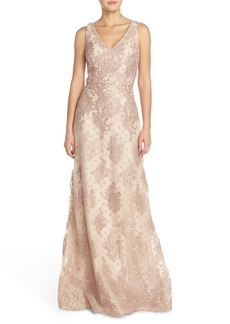 David Meister Embroidered Tulle Fit & Flare Evening Gown