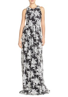 David Meister Embroidered Tulle Fit & Flare Gown