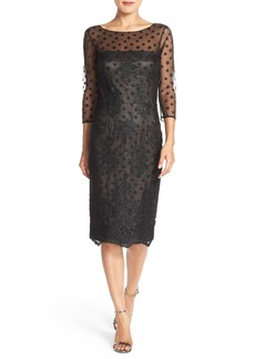 David Meister Embroidered Tulle Sheath Dress