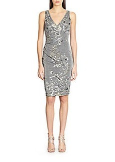 David Meister Floral-Applique Metallic Cocktail