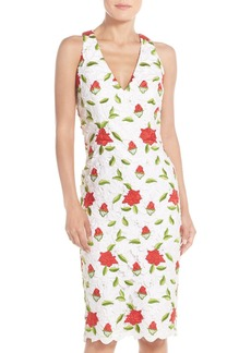 David Meister Floral Embroidered Sheath Dress