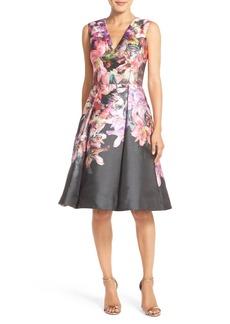 David Meister Floral Fit & Flare Dress