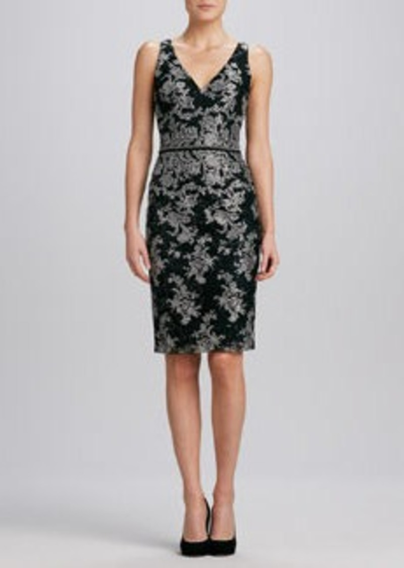 David Meister Floral V-Neck Jacquard Cocktail Dress