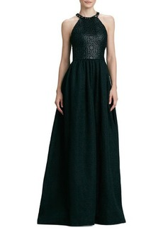 David Meister Halter Beaded-Neck Gown