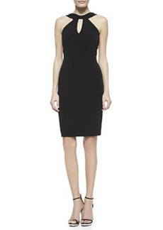 David Meister Halter Keyhole Dress, Black