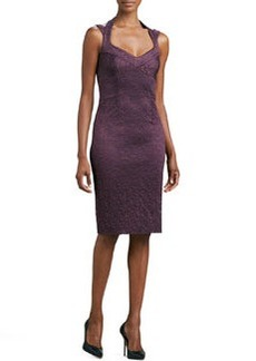 David Meister Halter Lace Cocktail Dress, Plum