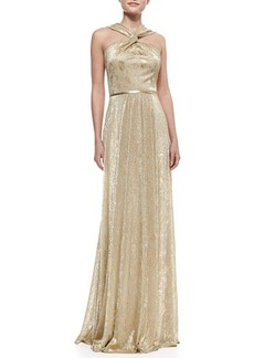 David Meister Halter-Style Metallic Gown, Gold