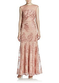 David Meister Illusion Lace Trumpet Gown