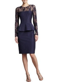David Meister Illusion-Neck Peplum Cocktail Dress