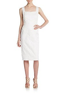 David Meister Jacquard & Crochet Sheath Dress