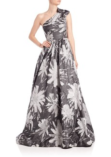 David Meister Jacquard One-Shoulder Floral Ball Gown