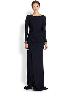 David Meister Jersey Cutout-Back Gown