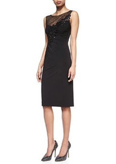 David Meister Jersey Dress with Embroidered Mesh Yoke