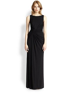 David Meister Jersey Lace-Back Gown