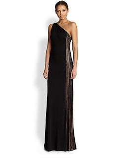 David Meister Jersey One-Shoulder Illusion Gown