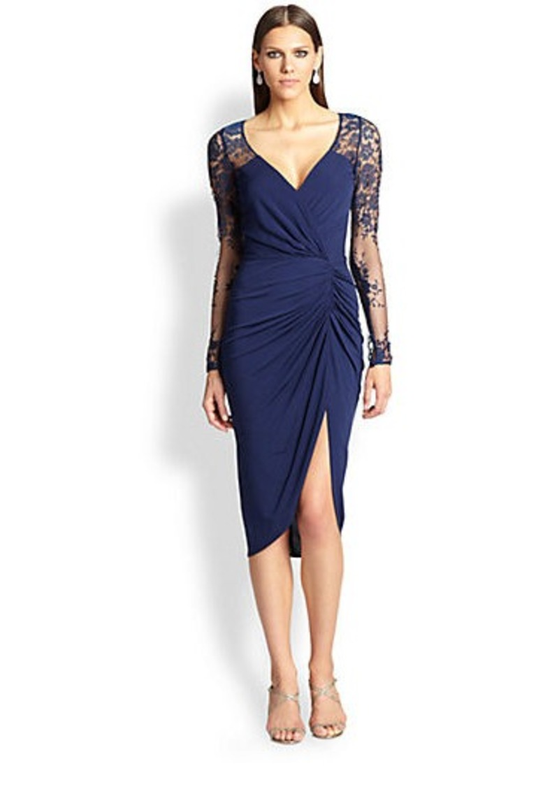 David Meister Lace & Jersey Dress