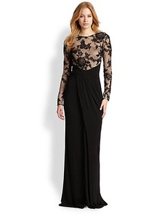 David Meister Lace & Jersey Gown