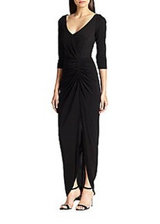 David Meister Lace-Back Ruched Jersey Gown