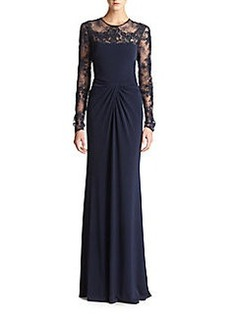 David Meister Lace-Insert Gown