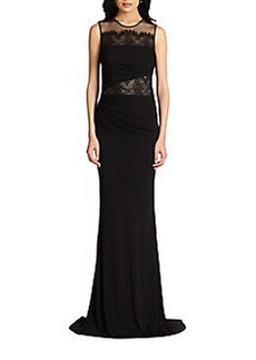 David Meister Lace-Inset Jersey Gown