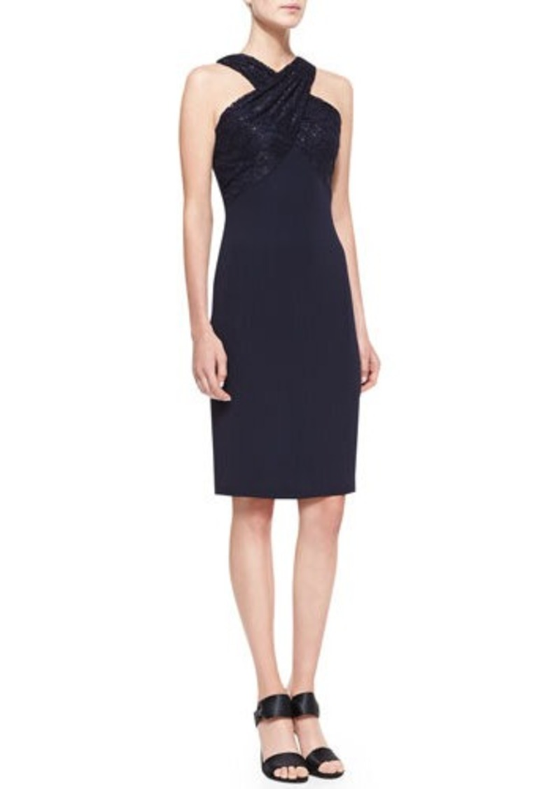 David Meister Lace-Strap Halter Cocktail Dress, Navy