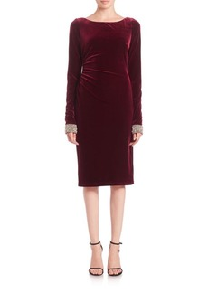 David Meister Long-Sleeve Beaded-Cuff Velvet Cocktail Dress