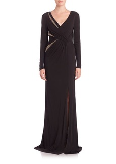 David Meister Long-Sleeve Beaded-Insert Jersey Gown