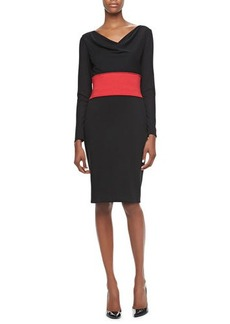 David Meister Long-Sleeve Cowl-Neck Banded-Waist Dress