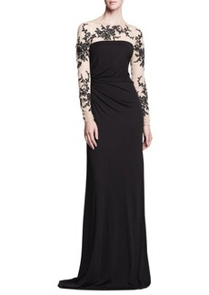 David Meister Long-Sleeve Gown with Lace Illusion