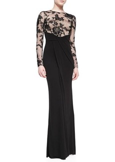David Meister Long-Sleeve Illusion Lace Gown, Black