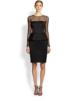 David Meister Long-Sleeve Illusion Peplum Dress