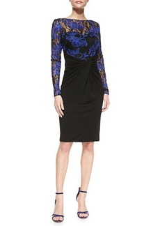 David Meister Long-Sleeve Lace-Bodice Cocktail Dress