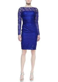 David Meister Long-Sleeve Lace Cocktail Dress, Royal
