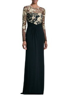 David Meister Long-Sleeve Lace-Overlay Gown