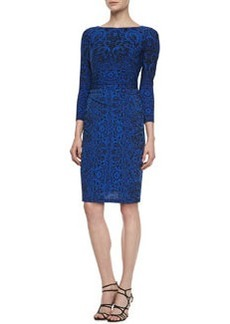 David Meister Long-Sleeve Lace-Print Jersey Dress